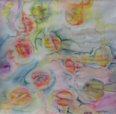 ID 4 Watercolor On Bees and Flowers, Tulips 2014 112x114 cm withouta  carton
