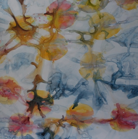 ID 14 Watercolor on canvas On Bees and Flowers, Tulips 2014 ca 140x140 cm