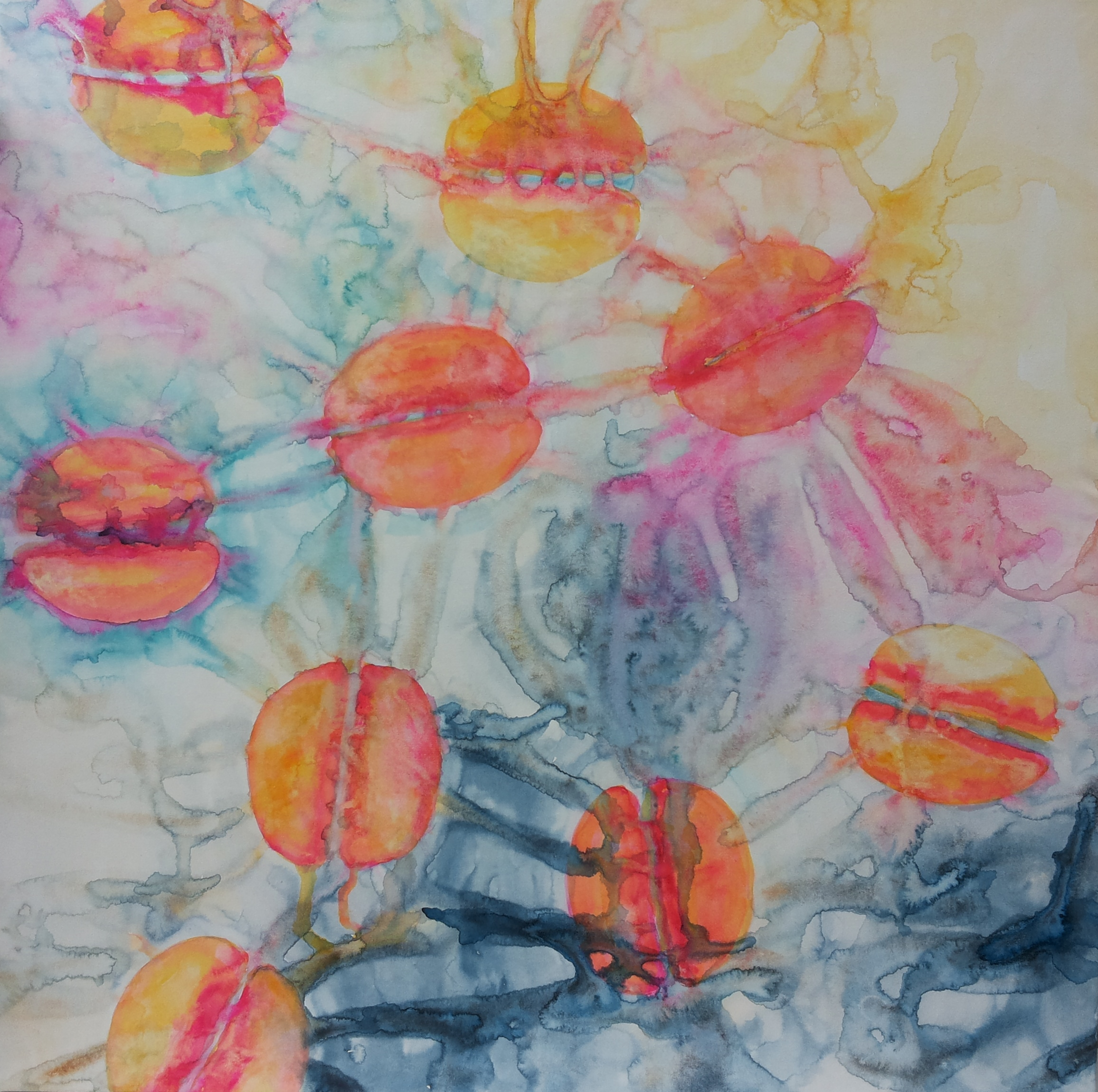 ID 11 Watercolor on canvas On Bees and Flowers, Tulips 2014 ca 140x140 cm