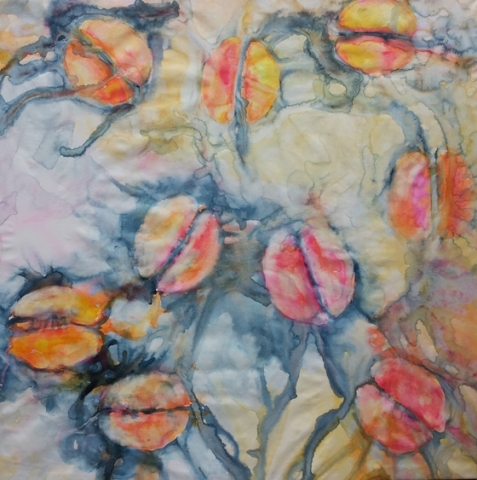 ID 10 Watercolor on canvas On Bees and Flowers, Tulips 2014 ca 140x140 cm
