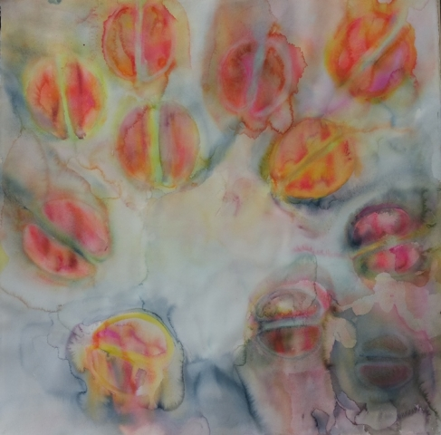 ID 8 Watercolor On Bees and Flowers, Tulips 2014 ca 114x114 cm without a carton