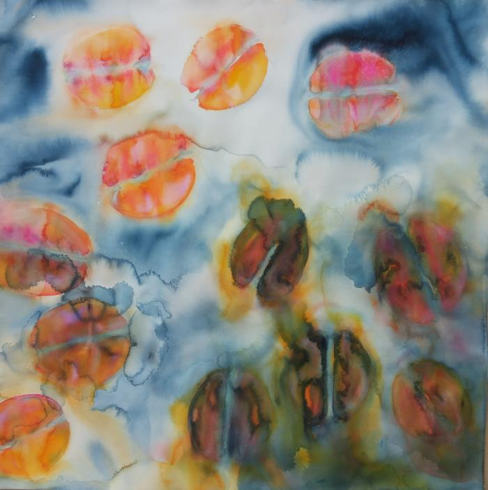 ID 9 Watercolor On Bees and Flowers, Tulips 2014 ca 114x114 cm without a carton